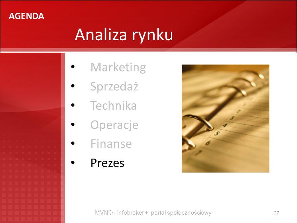 MVNO - infobroker + portal społecznościowy 27 Analiza rynku AGENDA Marketing Sprzedaż Technika Operacje Finanse Prezes