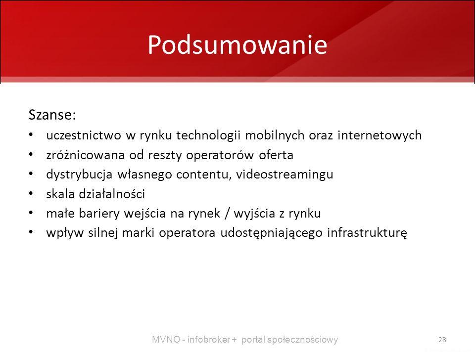 MVNO - infobroker + portal społecznościowy 28 Podsumowanie Szanse: uczestnictwo w rynku technologii mobilnych oraz internetowych zróżnicowana od reszt