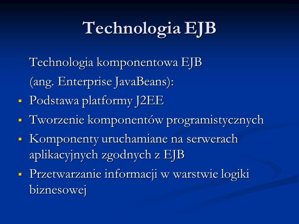 Technologia EJB Technologia komponentowa EJB (ang.