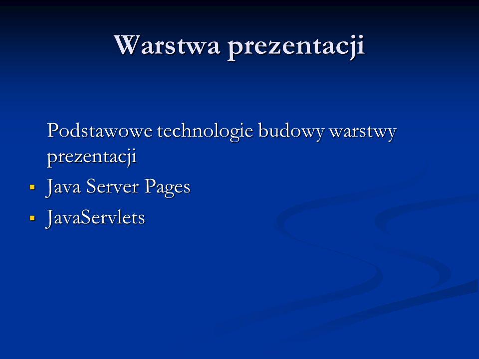 Warstwa prezentacji Podstawowe technologie budowy warstwy prezentacji Java Server Pages Java Server Pages JavaServlets JavaServlets
