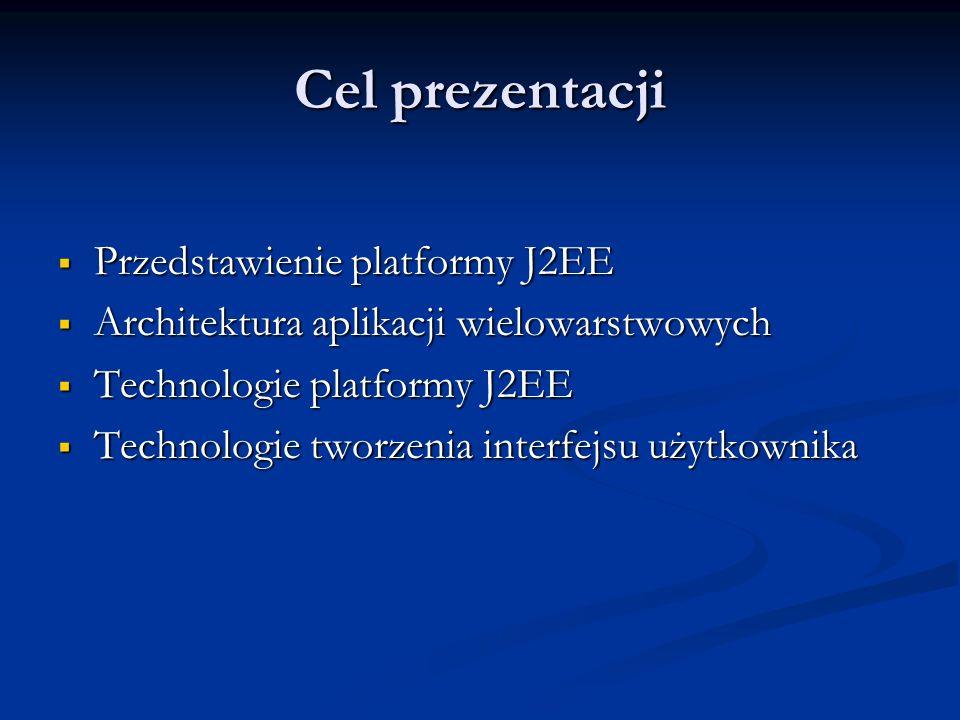 Cel prezentacji Przedstawienie platformy J2EE Przedstawienie platformy J2EE Architektura aplikacji wielowarstwowych Architektura aplikacji wielowarstwowych Technologie platformy J2EE Technologie platformy J2EE Technologie tworzenia interfejsu użytkownika Technologie tworzenia interfejsu użytkownika