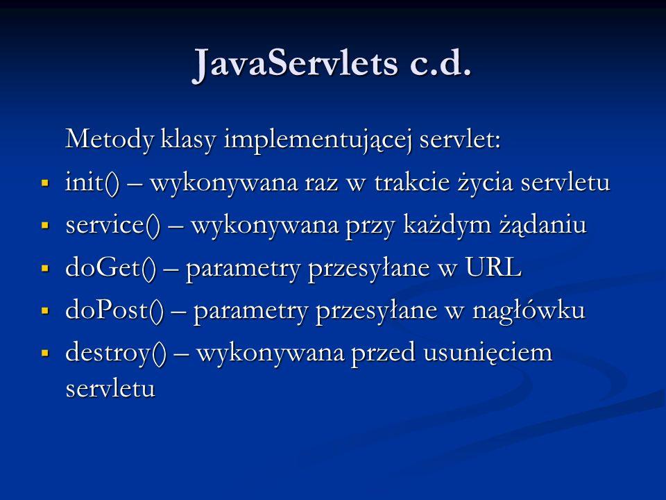 JavaServlets c.d.