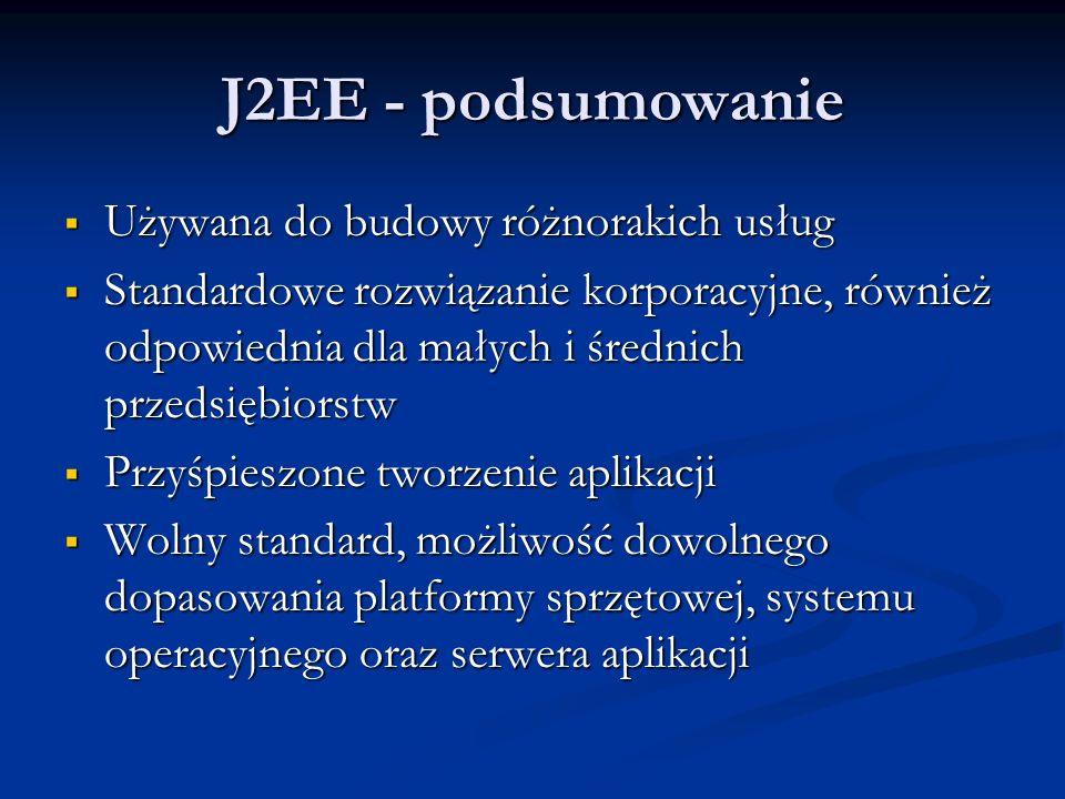 J2EE - podsumowanie Używana do budowy różnorakich usług Używana do budowy różnorakich usług Standardowe rozwiązanie korporacyjne, również odpowiednia dla małych i średnich przedsiębiorstw Standardowe rozwiązanie korporacyjne, również odpowiednia dla małych i średnich przedsiębiorstw Przyśpieszone tworzenie aplikacji Przyśpieszone tworzenie aplikacji Wolny standard, możliwość dowolnego dopasowania platformy sprzętowej, systemu operacyjnego oraz serwera aplikacji Wolny standard, możliwość dowolnego dopasowania platformy sprzętowej, systemu operacyjnego oraz serwera aplikacji