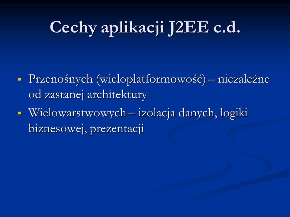 Cechy aplikacji J2EE c.d.