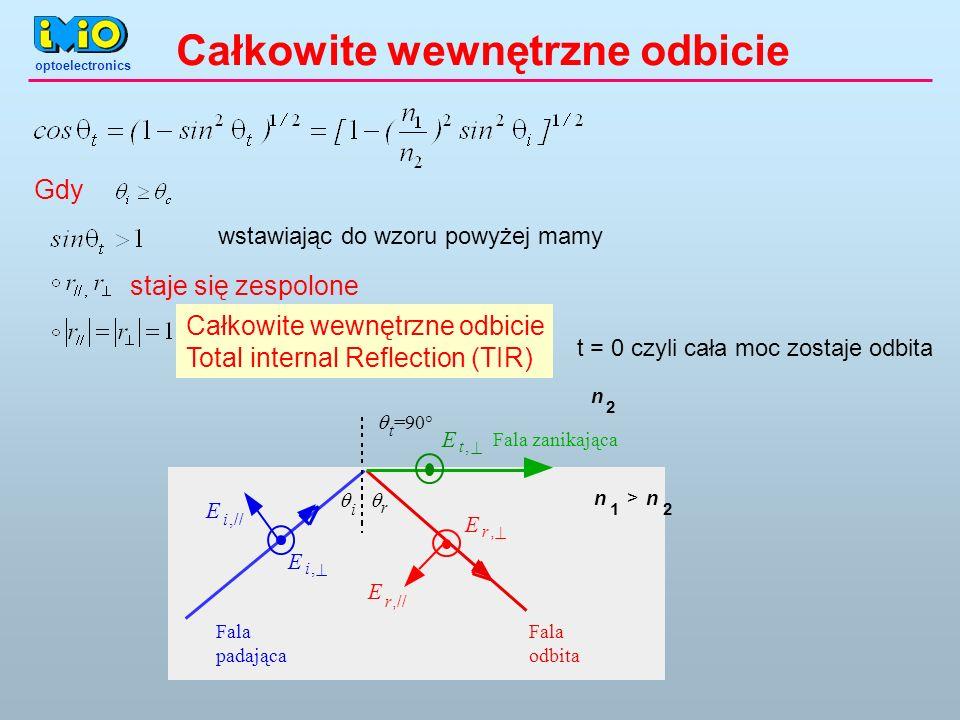 optoelectronics Całkowite wewnętrzne odbicie Gdy staje się zespolone Całkowite wewnętrzne odbicie Total internal Reflection (TIR) wstawiając do wzoru powyżej mamy t = 0 czyli cała moc zostaje odbita n 2 n 1 >n 2 t =90° Fala zanikająca Fala odbita Fala padająca i r E r,// E r, E i, E i, // E t,