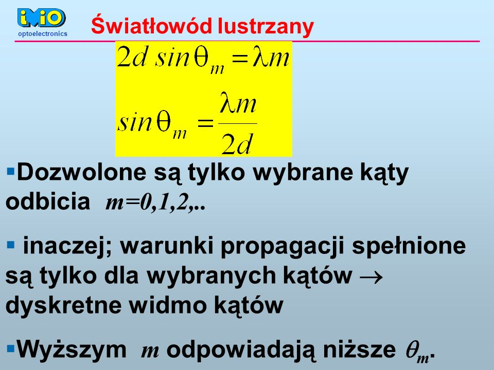 optoelectronics Światłowód lustrzany Dozwolone są tylko wybrane kąty odbicia m=0,1,2,..