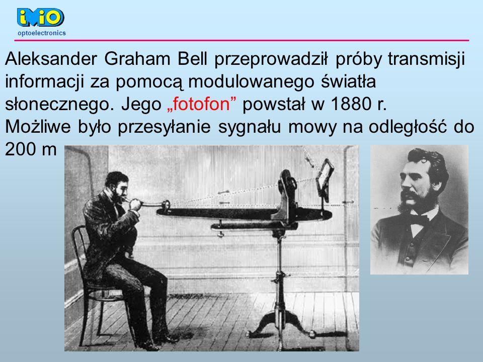 optoelectronics Aleksander Graham Bell przeprowadził próby transmisji informacji za pomocą modulowanego światła słonecznego. Jego fotofon powstał w 18