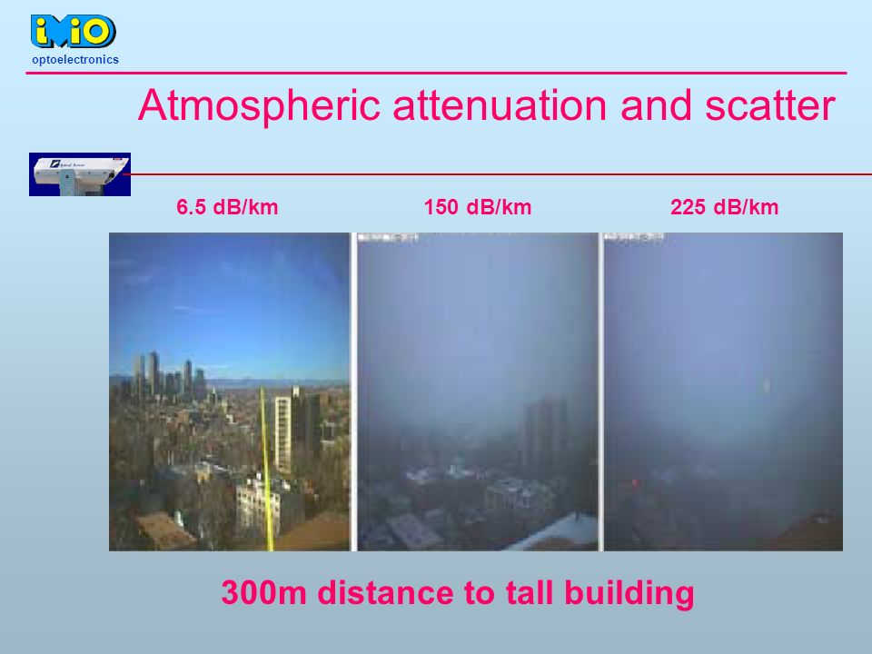 Atmospheric attenuation and scatter 6.5 dB/km150 dB/km225 dB/km 300m distance to tall building optoelectronics