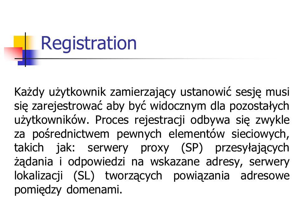Registration Każdy użytkownik zamierzający ustanowić sesję musi się zarejestrować aby być widocznym dla pozostałych użytkowników. Proces rejestracji o