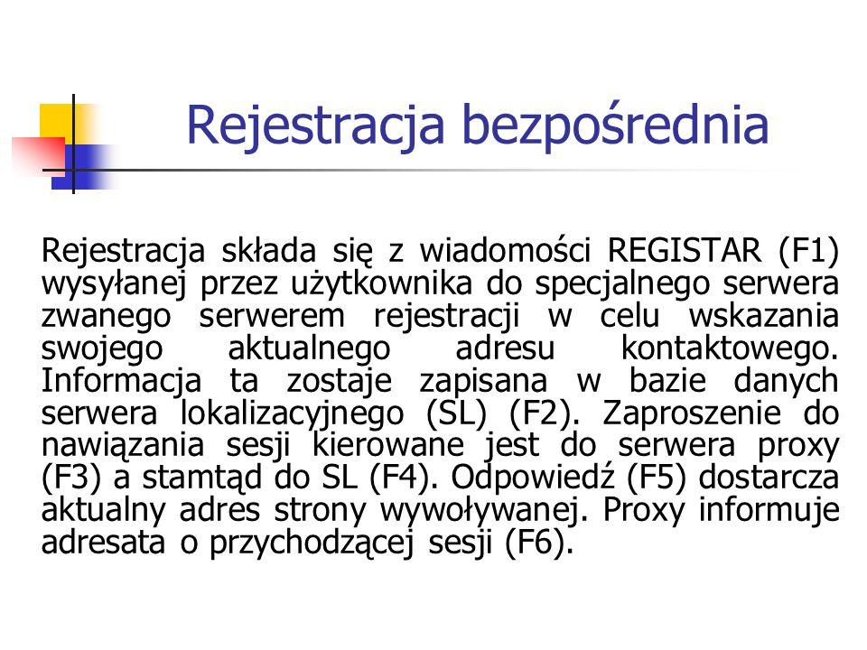 Rejestracja bezpośrednia Rejestracja składa się z wiadomości REGISTAR (F1) wysyłanej przez użytkownika do specjalnego serwera zwanego serwerem rejestracji w celu wskazania swojego aktualnego adresu kontaktowego.