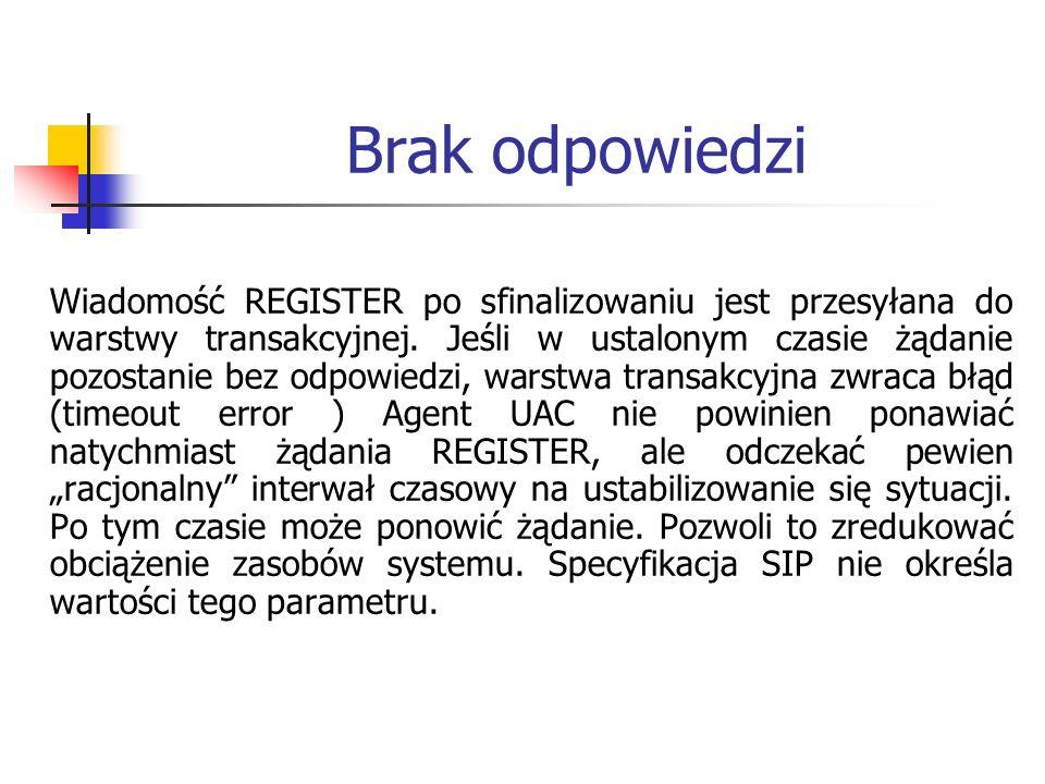 Brak odpowiedzi Wiadomość REGISTER po sfinalizowaniu jest przesyłana do warstwy transakcyjnej. Jeśli w ustalonym czasie żądanie pozostanie bez odpowie