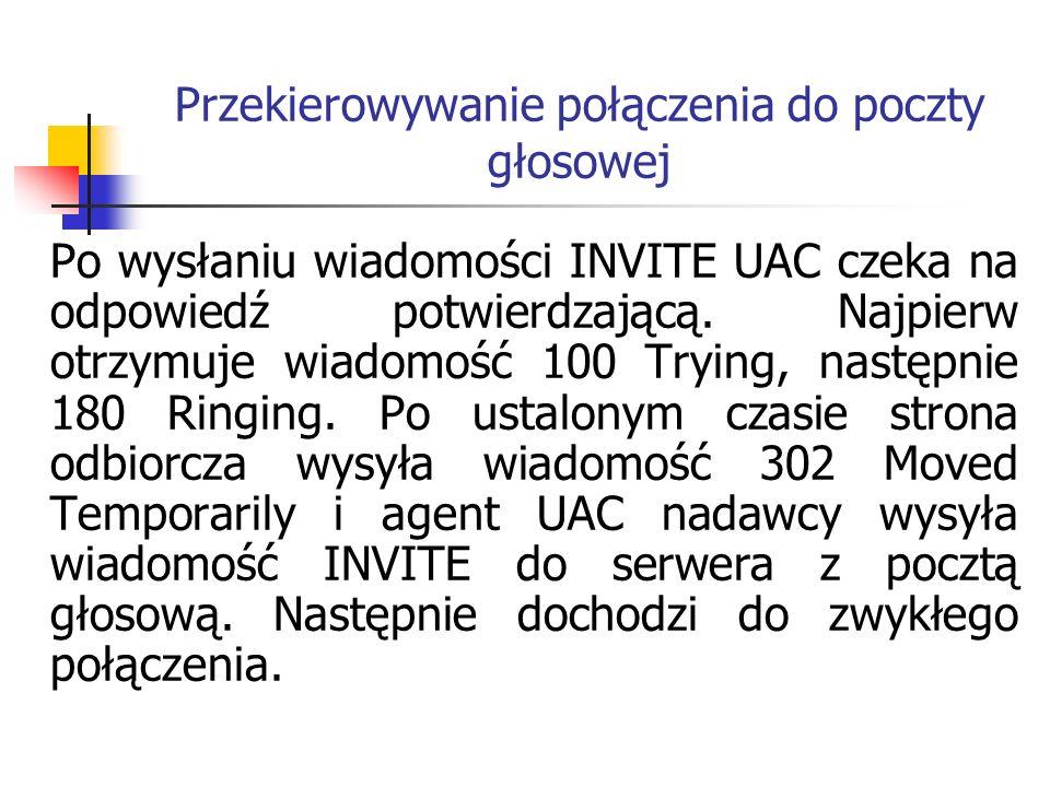 Przekierowywanie połączenia do poczty głosowej Po wysłaniu wiadomości INVITE UAC czeka na odpowiedź potwierdzającą. Najpierw otrzymuje wiadomość 100 T
