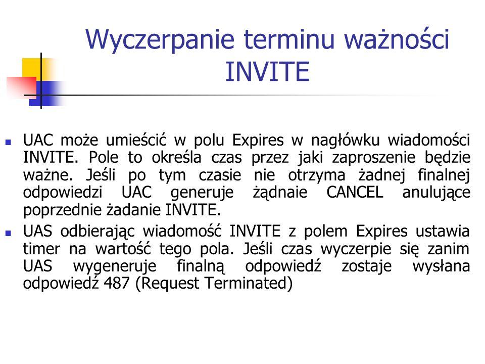 Wyczerpanie terminu ważności INVITE UAC może umieścić w polu Expires w nagłówku wiadomości INVITE. Pole to określa czas przez jaki zaproszenie będzie