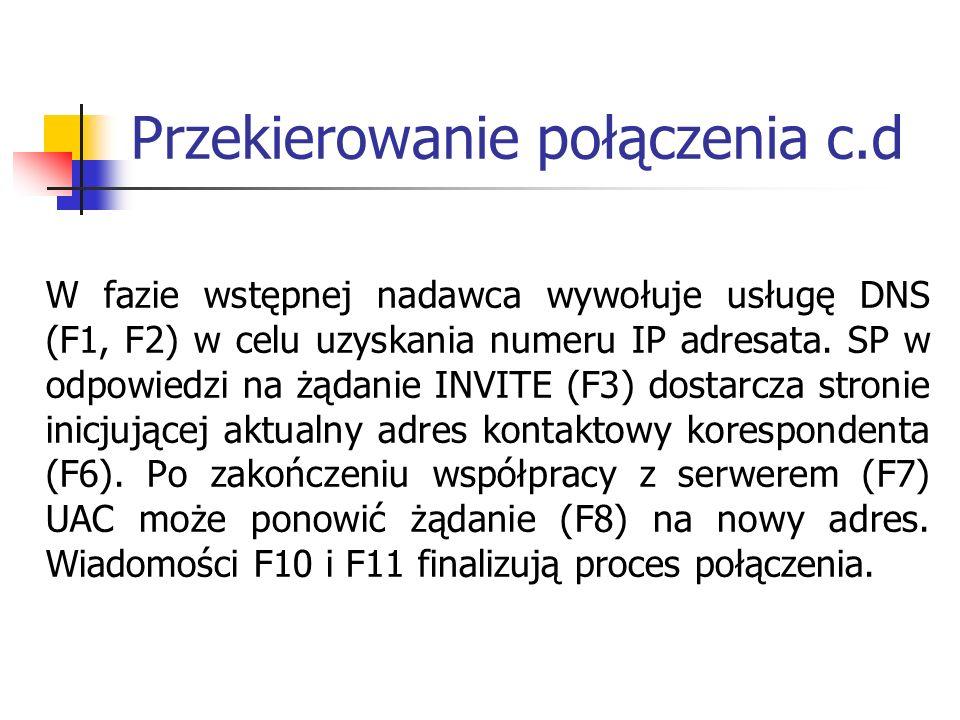 Przekierowanie połączenia c.d W fazie wstępnej nadawca wywołuje usługę DNS (F1, F2) w celu uzyskania numeru IP adresata. SP w odpowiedzi na żądanie IN