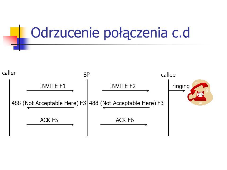 Odrzucenie połączenia c.d SP caller callee ringing ACK F6 INVITE F2 488 (Not Acceptable Here) F3 INVITE F1 488 (Not Acceptable Here) F3 ACK F5