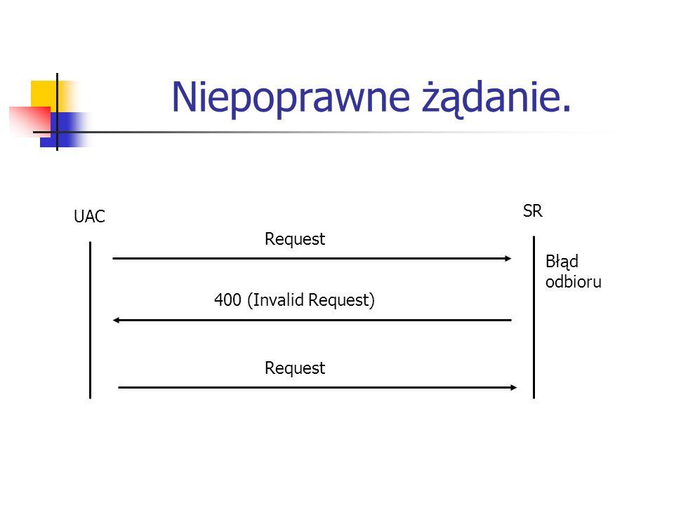 Niepoprawne żądanie. UAC SR Request 400 (Invalid Request) Błąd odbioru Request