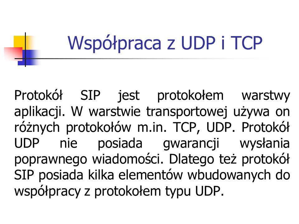Współpraca z UDP i TCP Protokół SIP jest protokołem warstwy aplikacji. W warstwie transportowej używa on różnych protokołów m.in. TCP, UDP. Protokół U