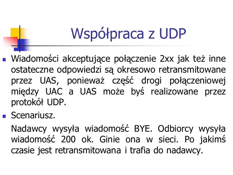 Współpraca z UDP Wiadomości akceptujące połączenie 2xx jak też inne ostateczne odpowiedzi są okresowo retransmitowane przez UAS, ponieważ część drogi połączeniowej między UAC a UAS może byś realizowane przez protokół UDP.