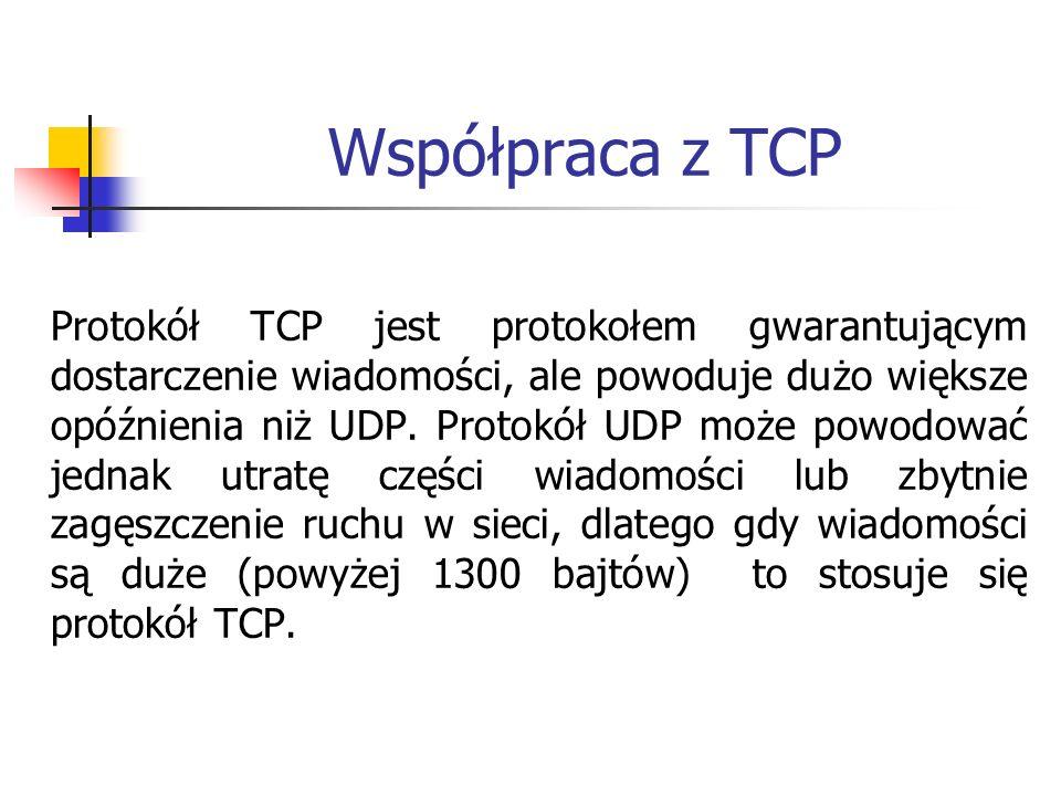 Współpraca z TCP Protokół TCP jest protokołem gwarantującym dostarczenie wiadomości, ale powoduje dużo większe opóźnienia niż UDP. Protokół UDP może p