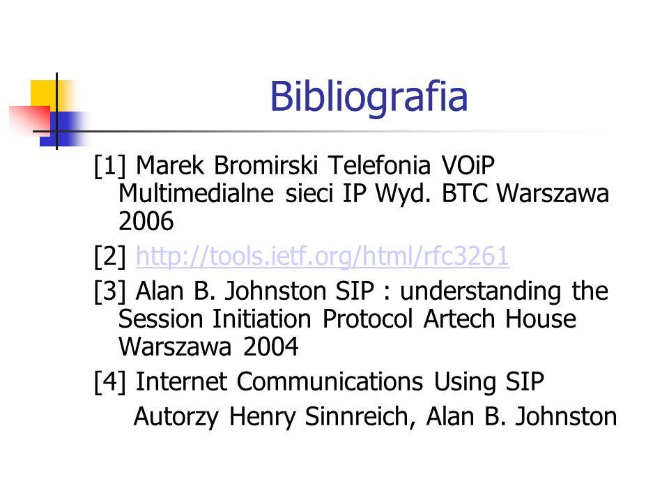 Bibliografia [1] Marek Bromirski Telefonia VOiP Multimedialne sieci IP Wyd. BTC Warszawa 2006 [2] http://tools.ietf.org/html/rfc3261http://tools.ietf.