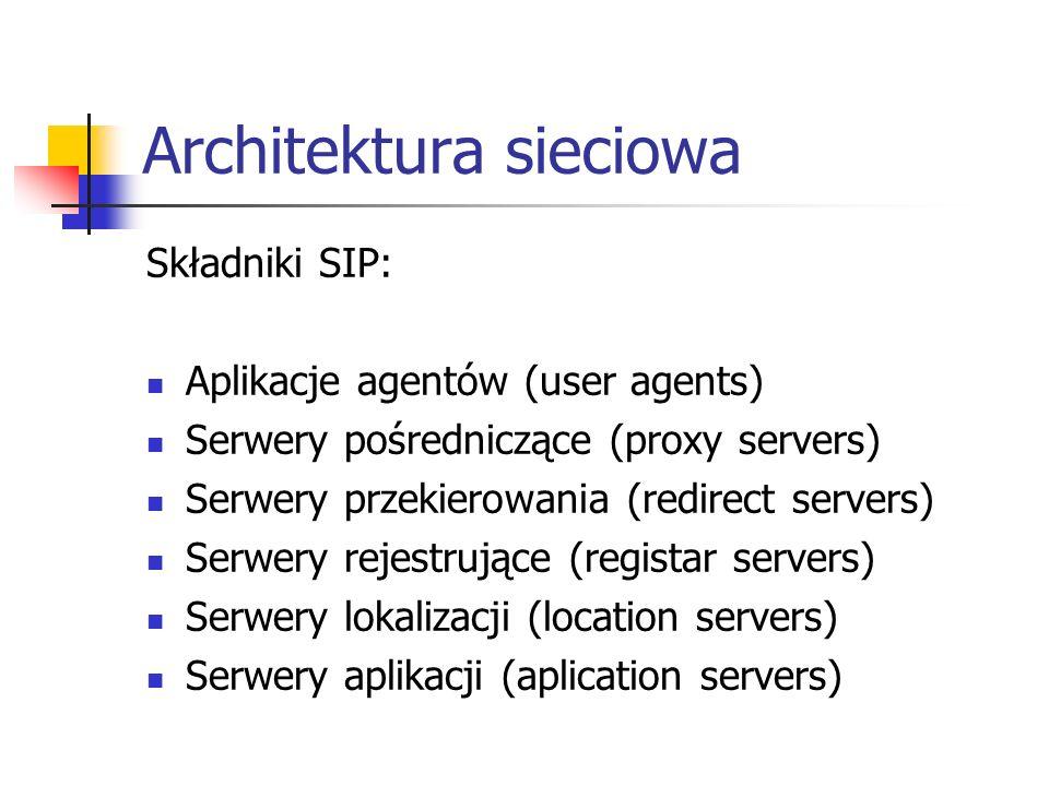 Architektura sieciowa Składniki SIP: Aplikacje agentów (user agents) Serwery pośredniczące (proxy servers) Serwery przekierowania (redirect servers) S