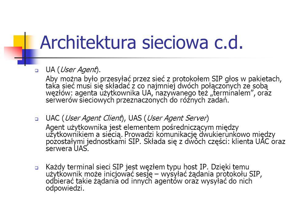 Architektura sieciowa c.d. UA (User Agent). Aby można było przesyłać przez sieć z protokołem SIP głos w pakietach, taka sieć musi się składać z co naj