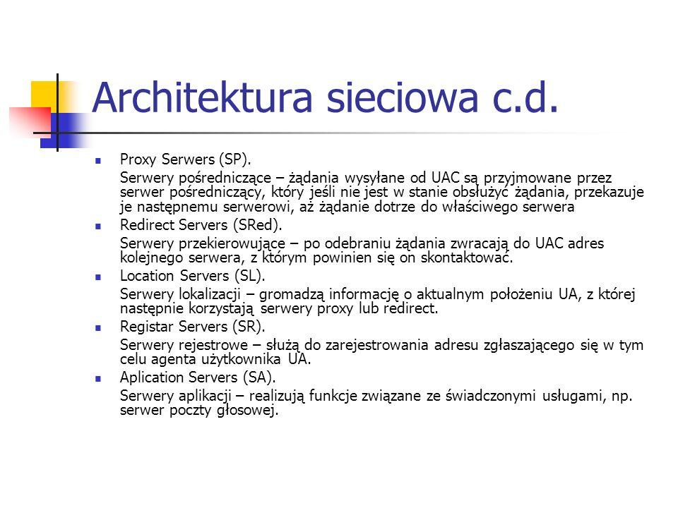 Architektura sieciowa c.d. Proxy Serwers (SP). Serwery pośredniczące – żądania wysyłane od UAC są przyjmowane przez serwer pośredniczący, który jeśli