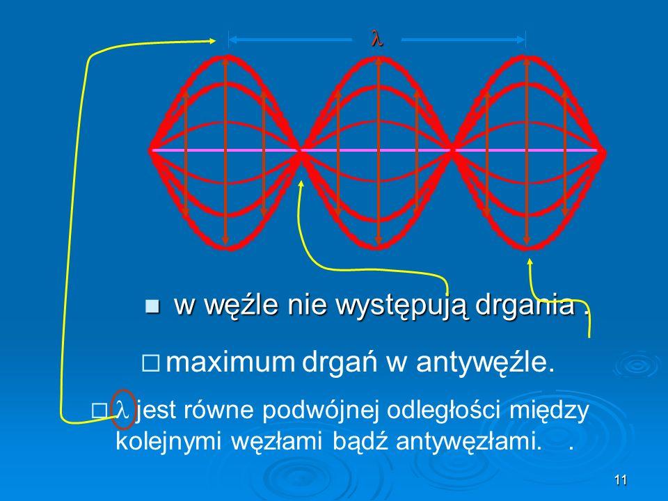 11 n w węźle nie występują drgania. maximum drgań w antywęźle. jest równe podwójnej odległości między kolejnymi węzłami bądź antywęzłami..