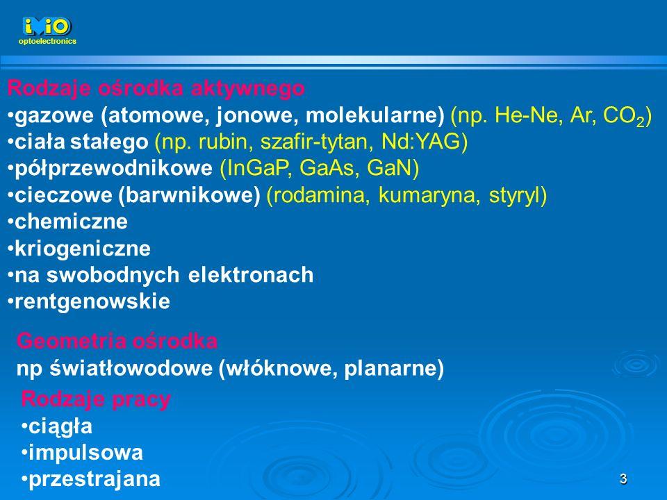 3 Rodzaje ośrodka aktywnego gazowe (atomowe, jonowe, molekularne) (np. He-Ne, Ar, CO 2 ) ciała stałego (np. rubin, szafir-tytan, Nd:YAG) półprzewodnik