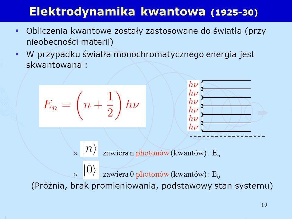 10 Obliczenia kwantowe zostały zastosowane do światła (przy nieobecności materii) W przypadku światła monochromatycznego energia jest skwantowana : »