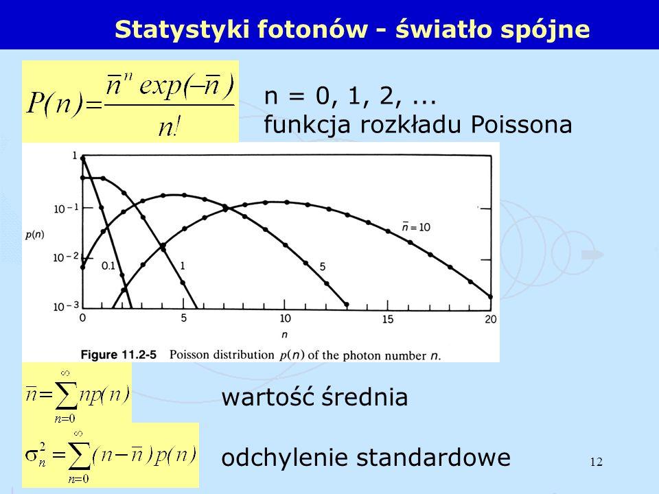 12 Statystyki fotonów - światło spójne n = 0, 1, 2,... funkcja rozkładu Poissona wartość średnia odchylenie standardowe