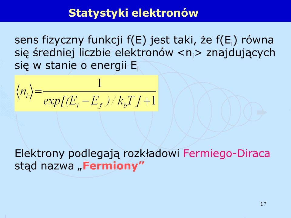 17 Statystyki elektronów sens fizyczny funkcji f(E) jest taki, że f(E i ) równa się średniej liczbie elektronów znajdujących się w stanie o energii E