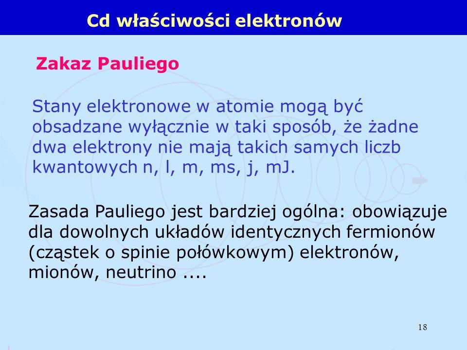 18 Stany elektronowe w atomie mogą być obsadzane wyłącznie w taki sposób, że żadne dwa elektrony nie mają takich samych liczb kwantowych n, l, m, ms,