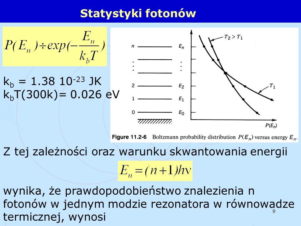 9 Statystyki fotonów k b = 1.38 10 -23 JK k b T(300k)= 0.026 eV Z tej zależności oraz warunku skwantowania energii wynika, że prawdopodobieństwo znale