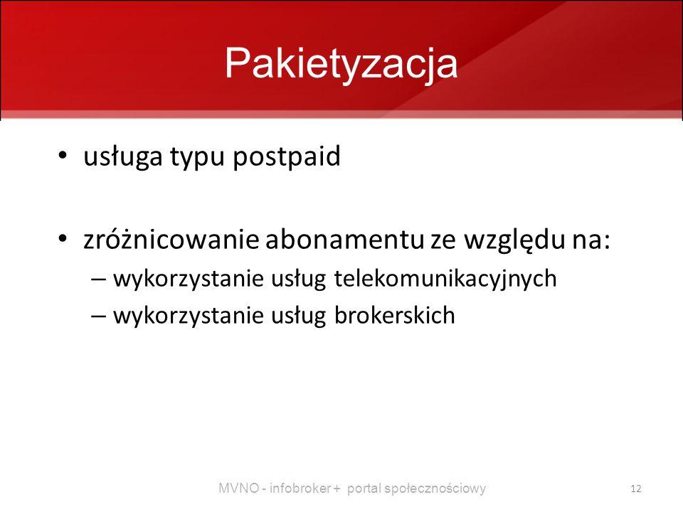 MVNO - infobroker + portal społecznościowy 12 Pakietyzacja usługa typu postpaid zróżnicowanie abonamentu ze względu na: – wykorzystanie usług telekomunikacyjnych – wykorzystanie usług brokerskich