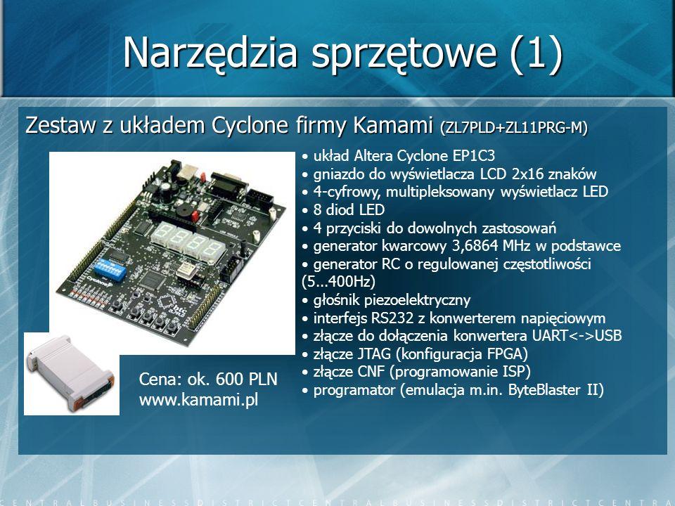 Narzędzia sprzętowe (1) Zestaw z układem Cyclone firmy Kamami (ZL7PLD+ZL11PRG-M) układ Altera Cyclone EP1C3 gniazdo do wyświetlacza LCD 2x16 znaków 4-