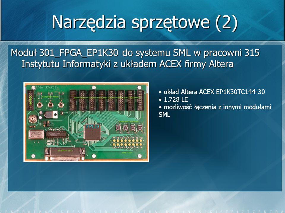 Narzędzia sprzętowe (2) Moduł 301_FPGA_EP1K30 do systemu SML w pracowni 315 Instytutu Informatyki z układem ACEX firmy Altera układ Altera ACEX EP1K30
