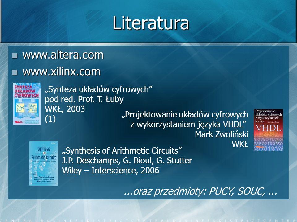 Literatura www.altera.com www.altera.com www.xilinx.com www.xilinx.com Synteza układów cyfrowych pod red. Prof. T. Łuby WKŁ, 2003 (1) Projektowanie uk