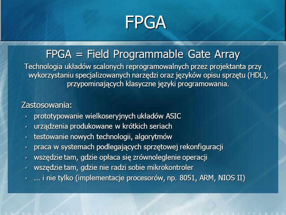FPGA FPGA = Field Programmable Gate Array Technologia układów scalonych reprogramowalnych przez projektanta przy wykorzystaniu specjalizowanych narzęd