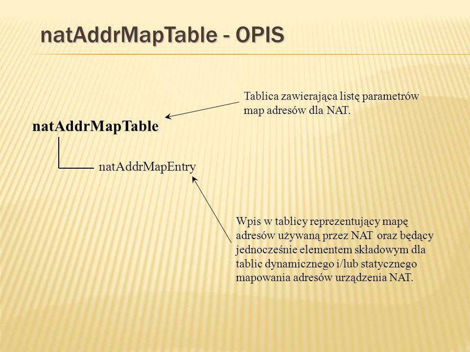 natAddrMapTable - OPIS natAddrMapTable natAddrMapEntry Tablica zawierająca listę parametrów map adresów dla NAT.