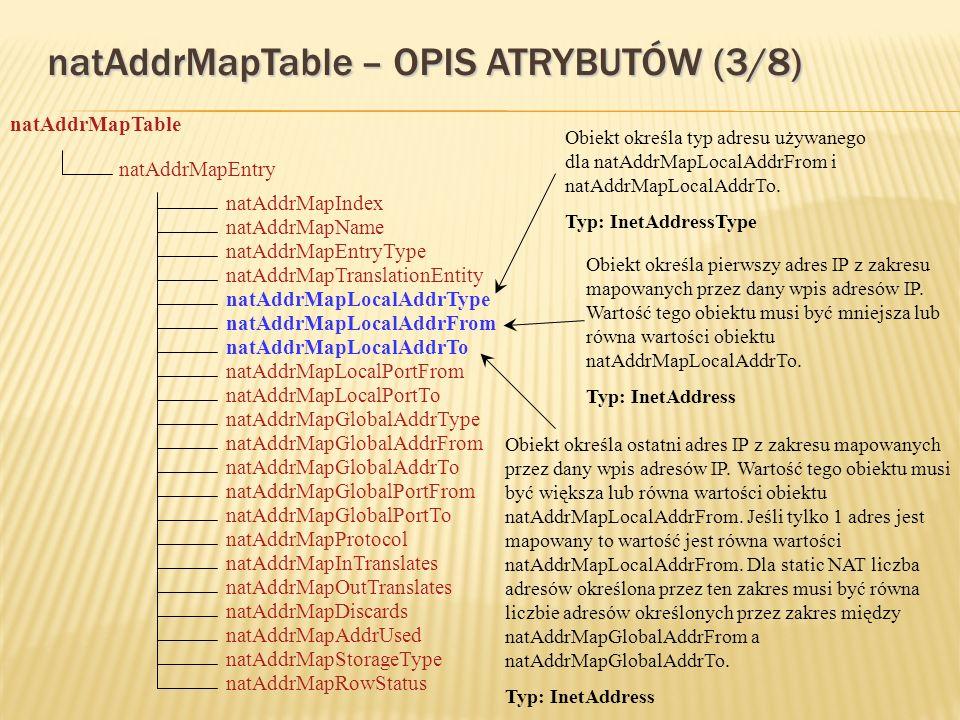 natAddrMapTable – OPIS ATRYBUTÓW (3/8) natAddrMapTable natAddrMapEntry natAddrMapStorageType natAddrMapIndex natAddrMapTranslationEntity natAddrMapName natAddrMapEntryType natAddrMapLocalAddrType natAddrMapLocalAddrFrom natAddrMapOutTranslates natAddrMapLocalPortFrom natAddrMapLocalAddrTo natAddrMapInTranslates natAddrMapLocalPortTo natAddrMapGlobalAddrType natAddrMapGlobalAddrFrom natAddrMapDiscards natAddrMapGlobalPortFrom natAddrMapGlobalAddrTo natAddrMapProtocol natAddrMapGlobalPortTo natAddrMapAddrUsed natAddrMapRowStatus Obiekt określa typ adresu używanego dla natAddrMapLocalAddrFrom i natAddrMapLocalAddrTo.