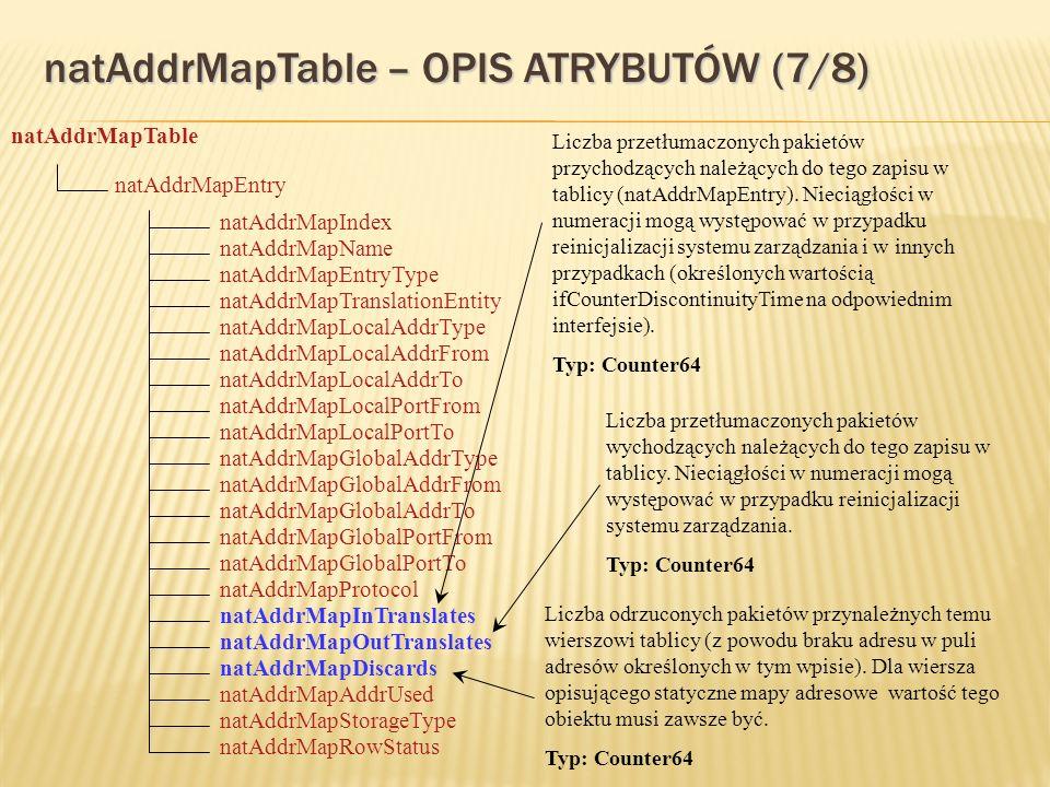 natAddrMapTable – OPIS ATRYBUTÓW (7/8) natAddrMapTable natAddrMapEntry natAddrMapStorageType natAddrMapIndex natAddrMapTranslationEntity natAddrMapName natAddrMapEntryType natAddrMapLocalAddrType natAddrMapLocalAddrFrom natAddrMapOutTranslates natAddrMapLocalPortFrom natAddrMapLocalAddrTo natAddrMapInTranslates natAddrMapLocalPortTo natAddrMapGlobalAddrType natAddrMapGlobalAddrFrom natAddrMapDiscards natAddrMapGlobalPortFrom natAddrMapGlobalAddrTo natAddrMapProtocol natAddrMapGlobalPortTo natAddrMapAddrUsed natAddrMapRowStatus Liczba przetłumaczonych pakietów przychodzących należących do tego zapisu w tablicy (natAddrMapEntry).