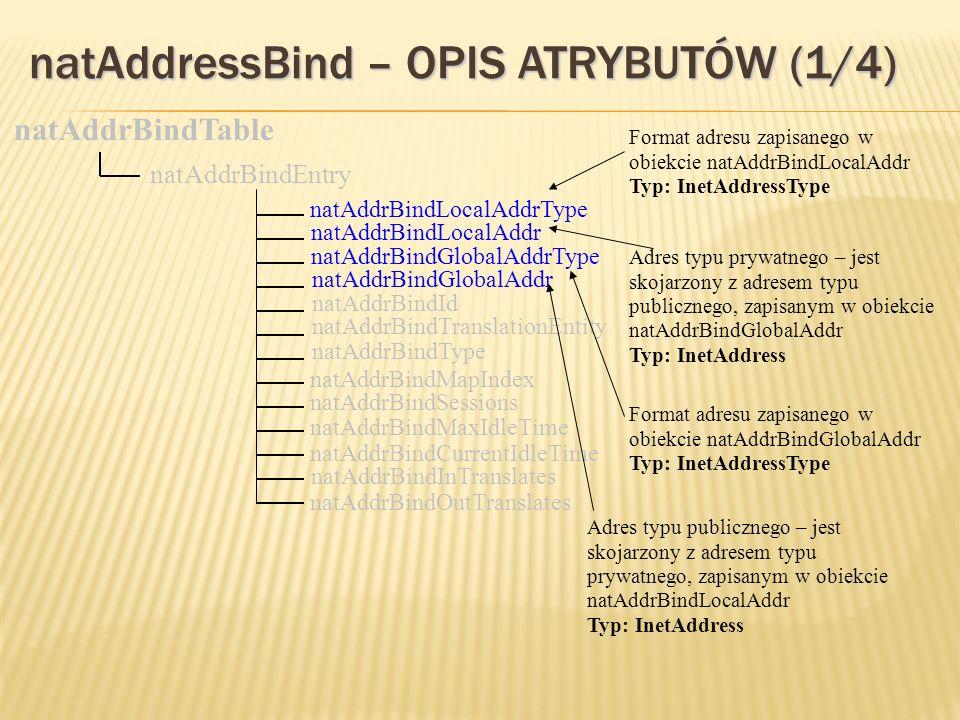 natAddressBind – OPIS ATRYBUTÓW (1/4) natAddrBindGlobalAddr natAddrBindId natAddrBindTranslationEntity natAddrBindType natAddrBindTable natAddrBindEntry natAddrBindLocalAddrType natAddrBindLocalAddr natAddrBindGlobalAddrType natAddrBindMapIndex natAddrBindSessions natAddrBindMaxIdleTime natAddrBindCurrentIdleTime natAddrBindInTranslates natAddrBindOutTranslates Format adresu zapisanego w obiekcie natAddrBindLocalAddr Typ: InetAddressType Adres typu prywatnego – jest skojarzony z adresem typu publicznego, zapisanym w obiekcie natAddrBindGlobalAddr Typ: InetAddress Format adresu zapisanego w obiekcie natAddrBindGlobalAddr Typ: InetAddressType Adres typu publicznego – jest skojarzony z adresem typu prywatnego, zapisanym w obiekcie natAddrBindLocalAddr Typ: InetAddress