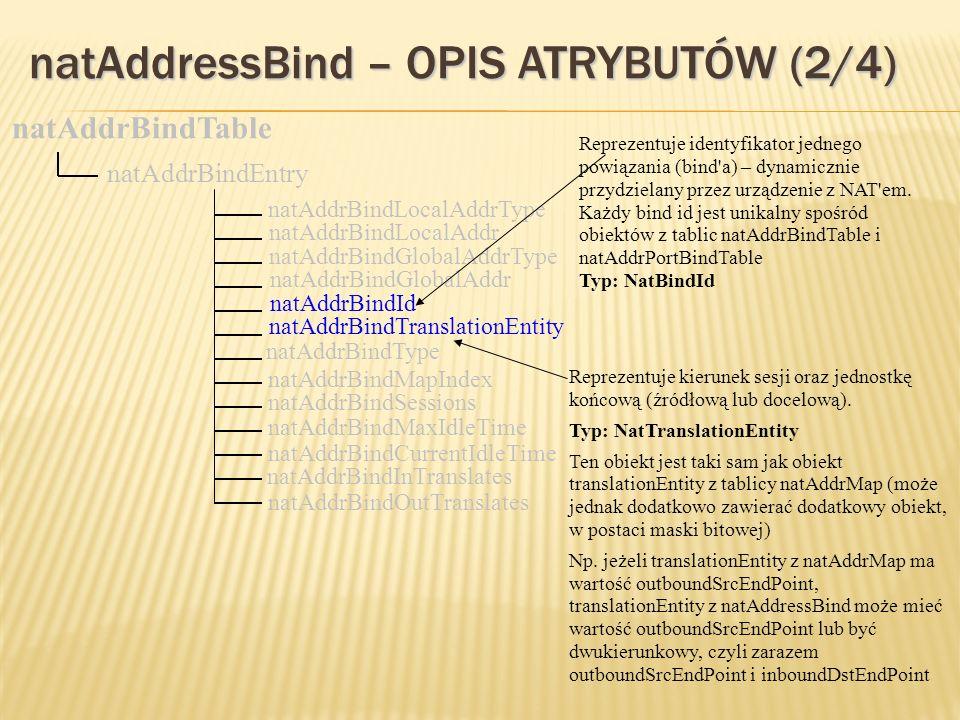 natAddressBind – OPIS ATRYBUTÓW (2/4) natAddrBindGlobalAddr natAddrBindId natAddrBindTranslationEntity natAddrBindType natAddrBindTable natAddrBindEntry natAddrBindLocalAddrType natAddrBindLocalAddr natAddrBindGlobalAddrType natAddrBindMapIndex natAddrBindSessions natAddrBindMaxIdleTime natAddrBindCurrentIdleTime natAddrBindInTranslates natAddrBindOutTranslates Reprezentuje identyfikator jednego powiązania (bind a) – dynamicznie przydzielany przez urządzenie z NAT em.