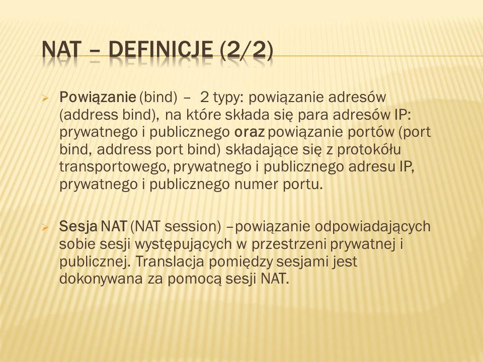 Powiązanie (bind) – 2 typy: powiązanie adresów (address bind), na które składa się para adresów IP: prywatnego i publicznego oraz powiązanie portów (port bind, address port bind) składające się z protokółu transportowego, prywatnego i publicznego adresu IP, prywatnego i publicznego numer portu.