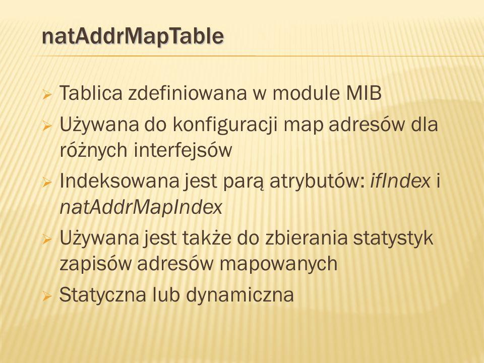 natAddrMapTable Tablica zdefiniowana w module MIB Używana do konfiguracji map adresów dla różnych interfejsów Indeksowana jest parą atrybutów: ifIndex i natAddrMapIndex Używana jest także do zbierania statystyk zapisów adresów mapowanych Statyczna lub dynamiczna