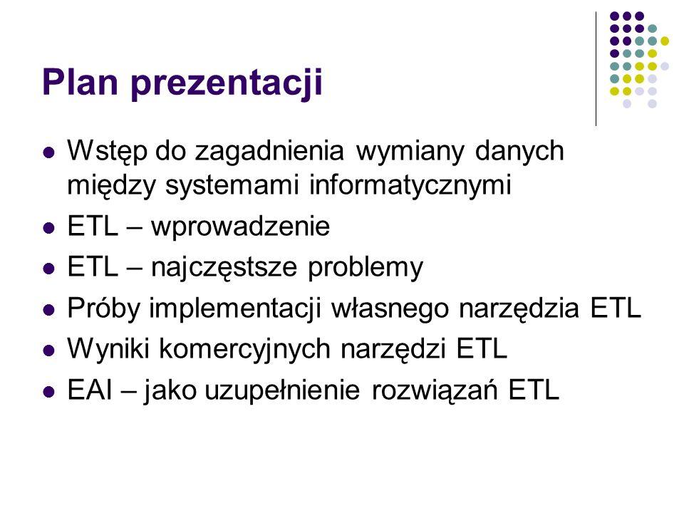 Plan prezentacji Wstęp do zagadnienia wymiany danych między systemami informatycznymi ETL – wprowadzenie ETL – najczęstsze problemy Próby implementacj