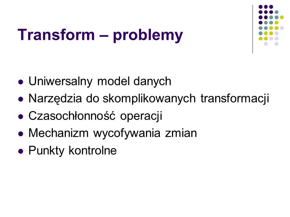 Transform – problemy Uniwersalny model danych Narzędzia do skomplikowanych transformacji Czasochłonność operacji Mechanizm wycofywania zmian Punkty ko