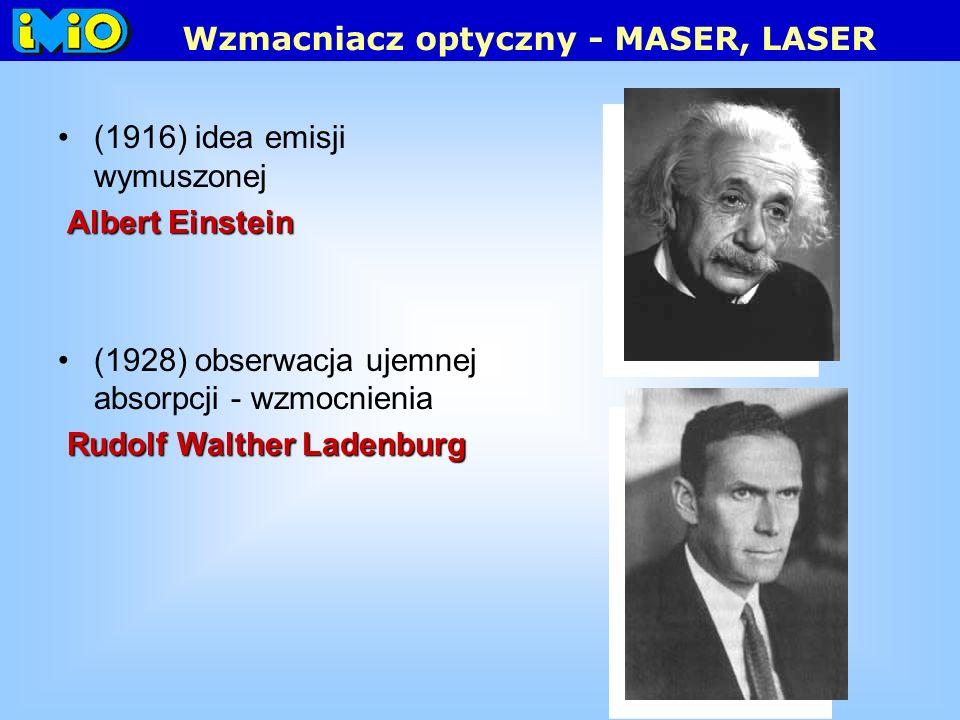 (1916) idea emisji wymuszonej Albert Einstein (1928) obserwacja ujemnej absorpcji - wzmocnienia Rudolf Walther Ladenburg Wzmacniacz optyczny - MASER, LASER
