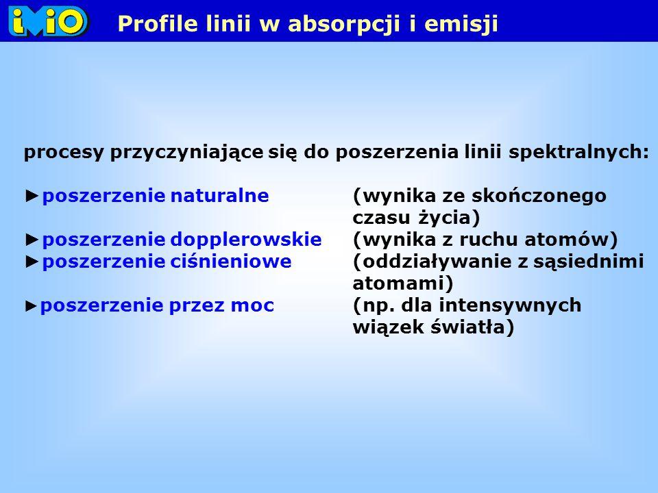 procesy przyczyniające się do poszerzenia linii spektralnych: poszerzenie naturalne (wynika ze skończonego czasu życia) poszerzenie dopplerowskie (wynika z ruchu atomów) poszerzenie ciśnieniowe (oddziaływanie z sąsiednimi atomami) poszerzenie przez moc (np.